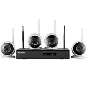 Kit De Monitoramento  Hikvision Wifi Nvr + 04 Câmeras Hikvision NK4W0-1T(TB) Hikhome