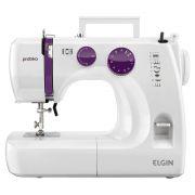 Máquina de Costura Elgin JX-2051 Prátika - Branca / Roxa - 110V