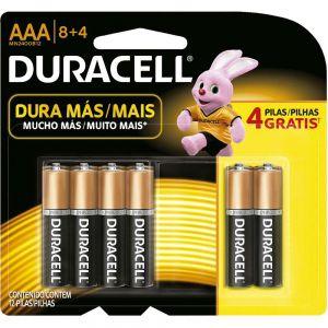 Pilha alcalina palito AAA leve 12 Duracell