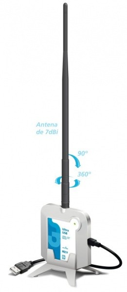Adaptador Wireless Ultra USB 150Mbps c/ antena 7dbi 500mw GTS  78.01150USAP