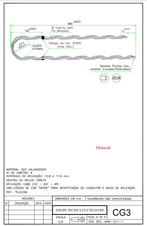Alça Fibra GC3 Preformada P/Fio Fe 100/160