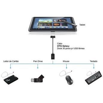 Cabo Otg 30 Pinos Galaxy Tab Notebook P/ Usb - Liga Pendrive COMTAC