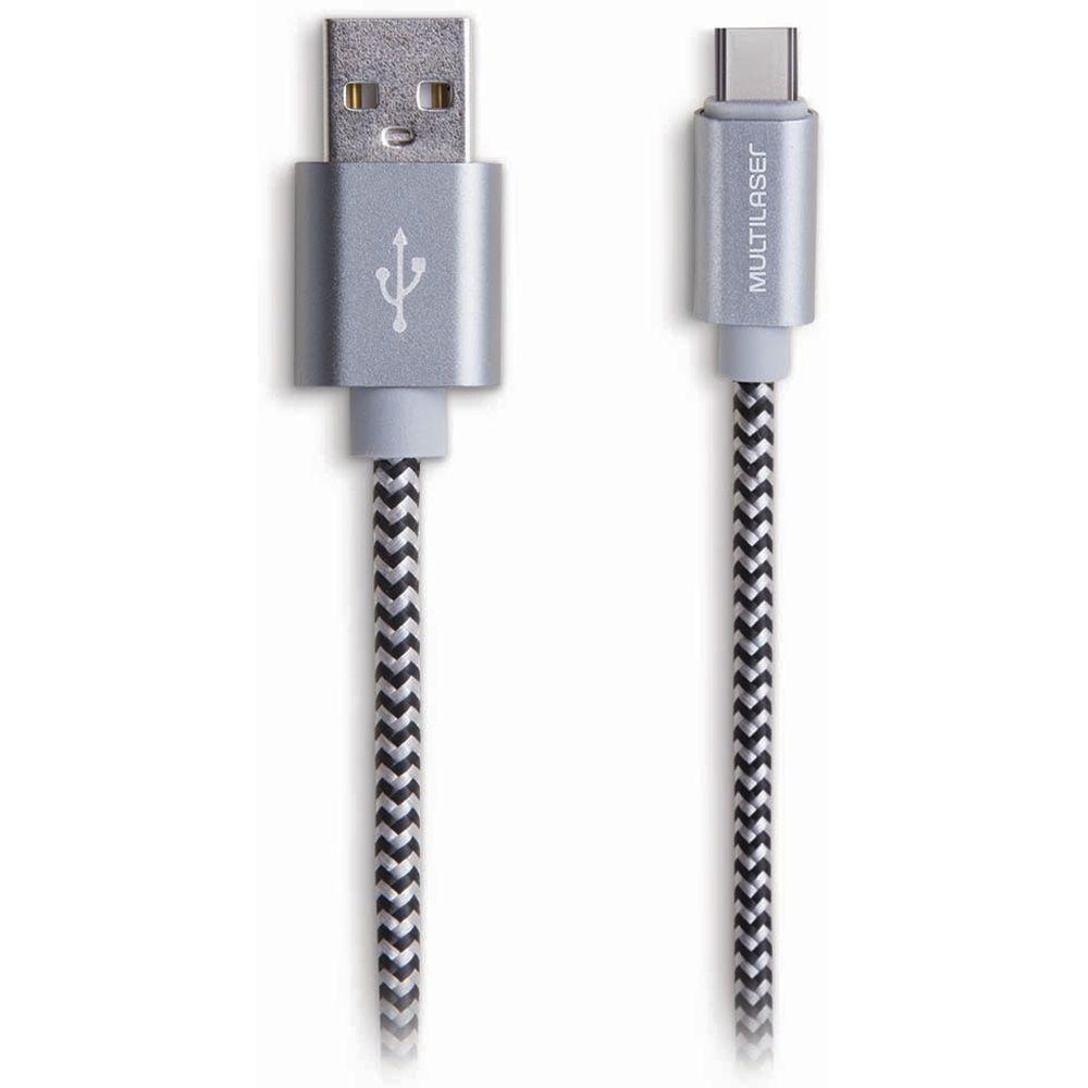 Cabo USB Type-C USB Preto 1,5m Nylon - WI345 Multilaser