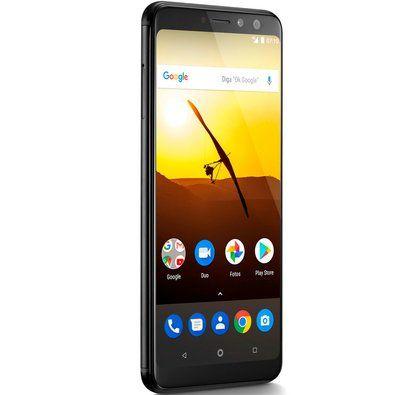 "Smartphone Multilaser MS80 4GB RAM + 64GB Tela 5,7"" HD+ Android 7.1 Qualcomm Dual Câmera 20MP+8MP Preto - NB724"