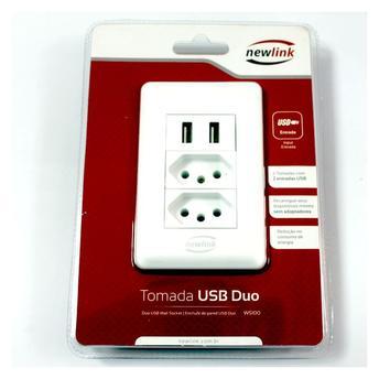 Tomada USB Duo WS100 Newlink 2 Tomadas 2 Portas USB 5V