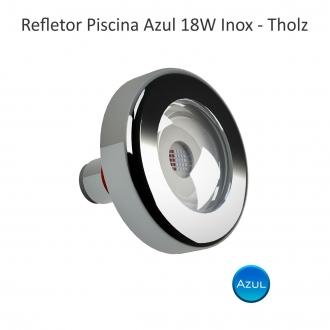 Kit 6 Refletor 18w Azul + 1 Fonte Selada 200w Tholz