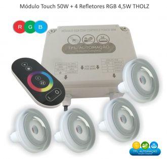 Kit Iluminação Piscina - 4 Leds Rgb 4,5w c/ cabo 10mt Tholz  + Módulo c/ Controle Touch 50w