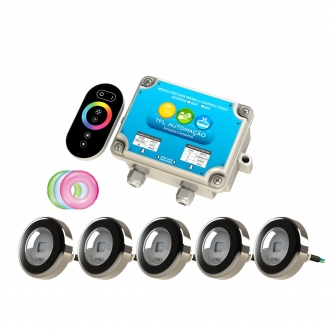Kit Iluminação Piscina - 5 Leds Rgb 9w Premium c/ cabo 10m Tholz + Módulo c/ Controle Touch 50w
