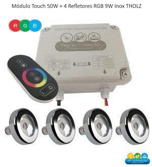 Kit Iluminação Piscina - 4 Leds Rgb 9w Tholz + Módulo c/ Controle Touch 50w