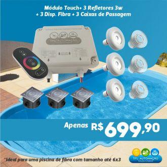 Kit Iluminação Piscina Fibra - 3 Refletores RGB 3W + Acessórios Completos