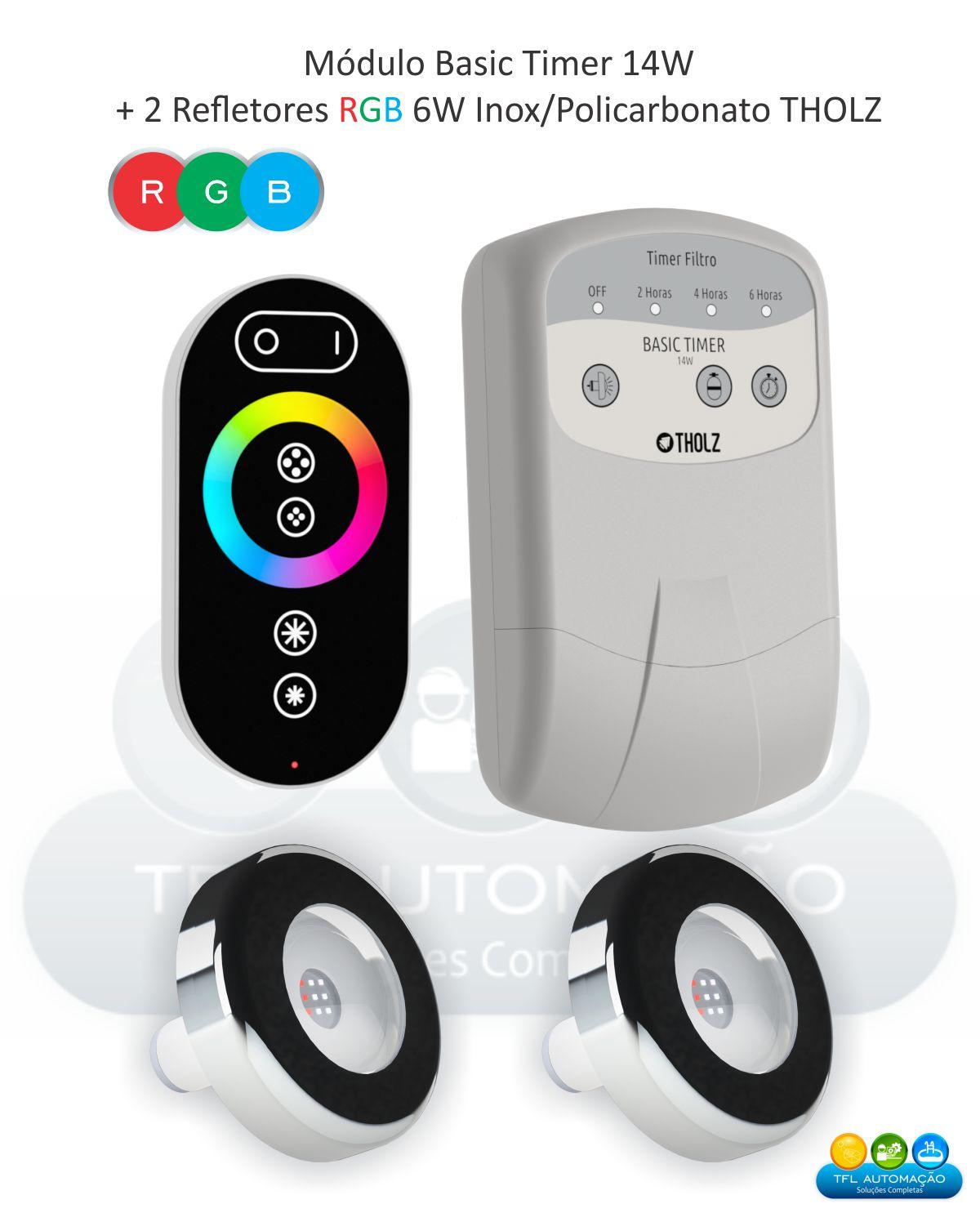 Kit Iluminação Piscina - 2 Leds Rgb 6w Premium 10m Tholz + Basic Timer 18w