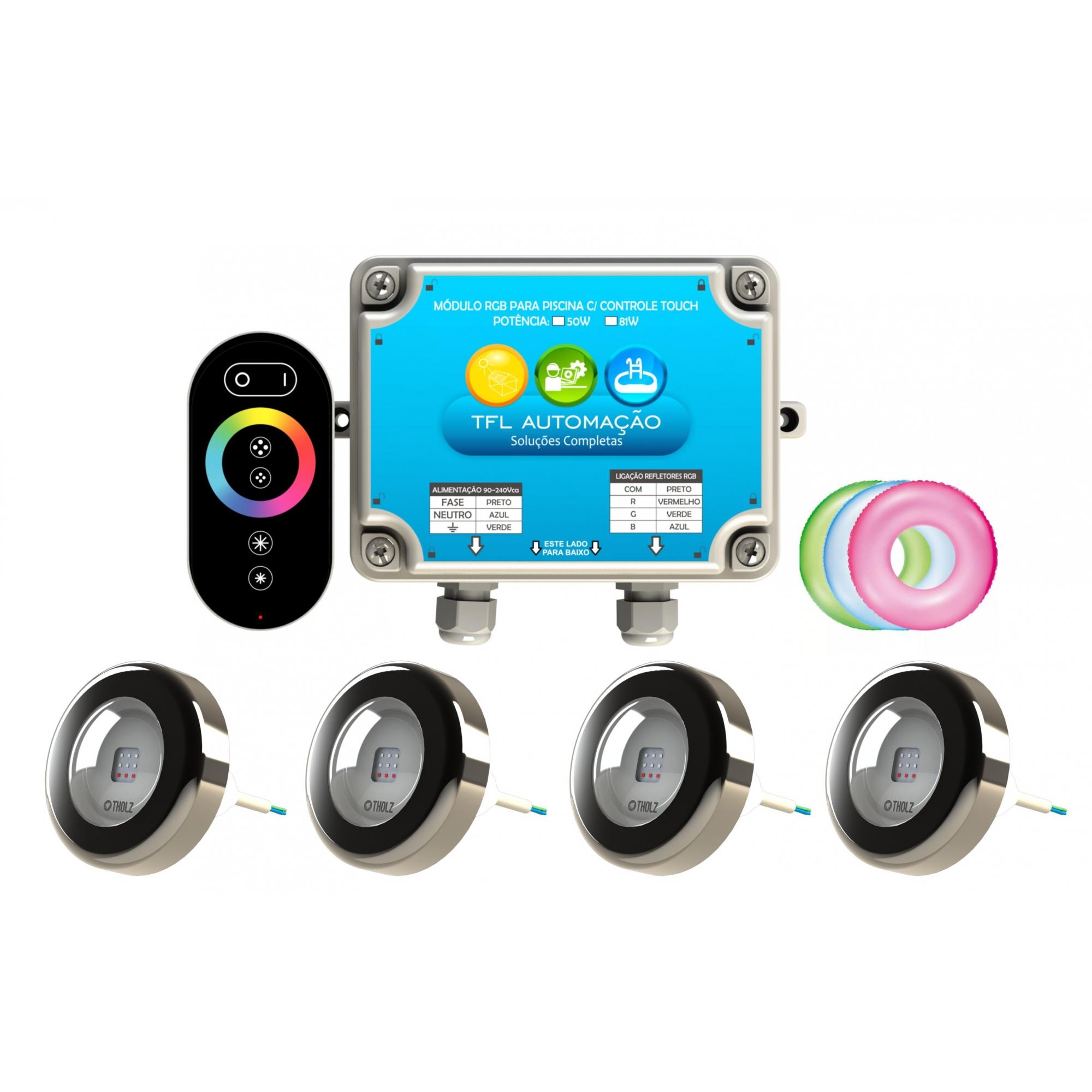 Kit Iluminação Piscina - 4 Leds Rgb 4,5w Tholz Inox + Módulo c/ Controle Touch 50w