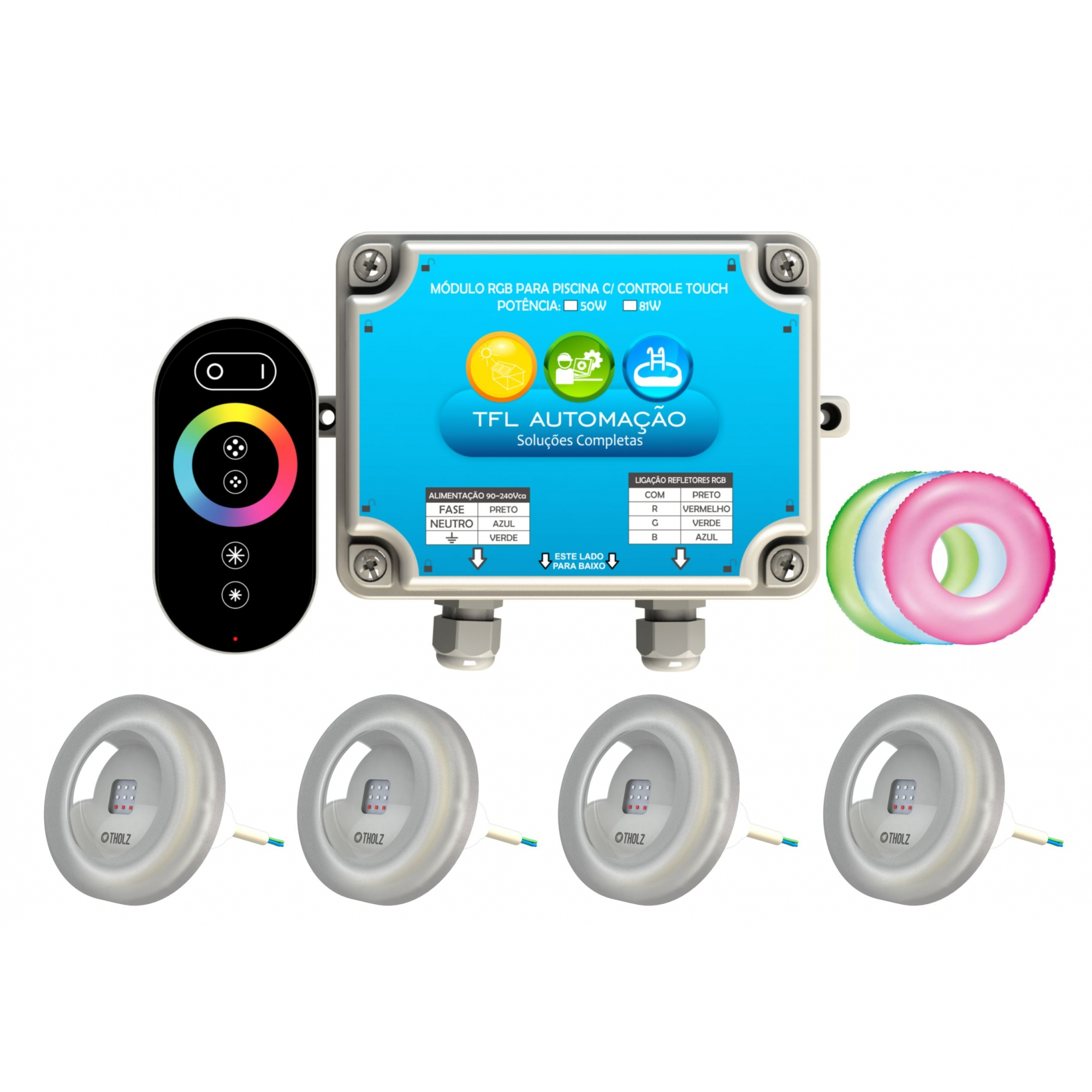 Kit Iluminação Piscina - 4 Leds Rgb 4,5w Tholz + Módulo c/ Controle Touch 50w