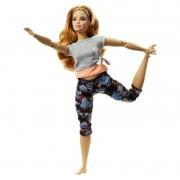 Boneca Barbie Feita para Mexer Aula de Yoga - Blusa Cinza e Laranja FTG80 Mattel