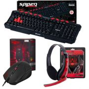 Combo Kit Gamer Spider Teclado GK-704BK + Mouse Spider Tarantula OM-702 + Headset Venom Shs701 Fortrek