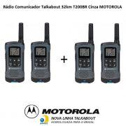 Kit 2 Pares Rádio Comunicador Talkabout 32km T200BR Cinza MOTOROLA