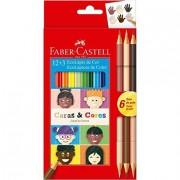 Lápis de Cor 12 cores + 3 120112CC Caras e Cores Faber Castell