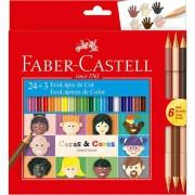 Lápis de Cor 24 cores + 3 120124CC Caras e Cores Faber Castell