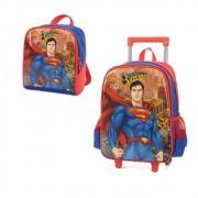 Mochila com Rodinhas Superman e Lancheira Azul IC34292SM02 Luxcel