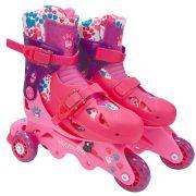 Patins Ajustável 3 Rodas Barbie 29 a 32 com Kit Proteção 77855 Fun
