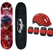 Skate Miraculous Ladybug Com Acessórios de Segurança Fun 8108-3