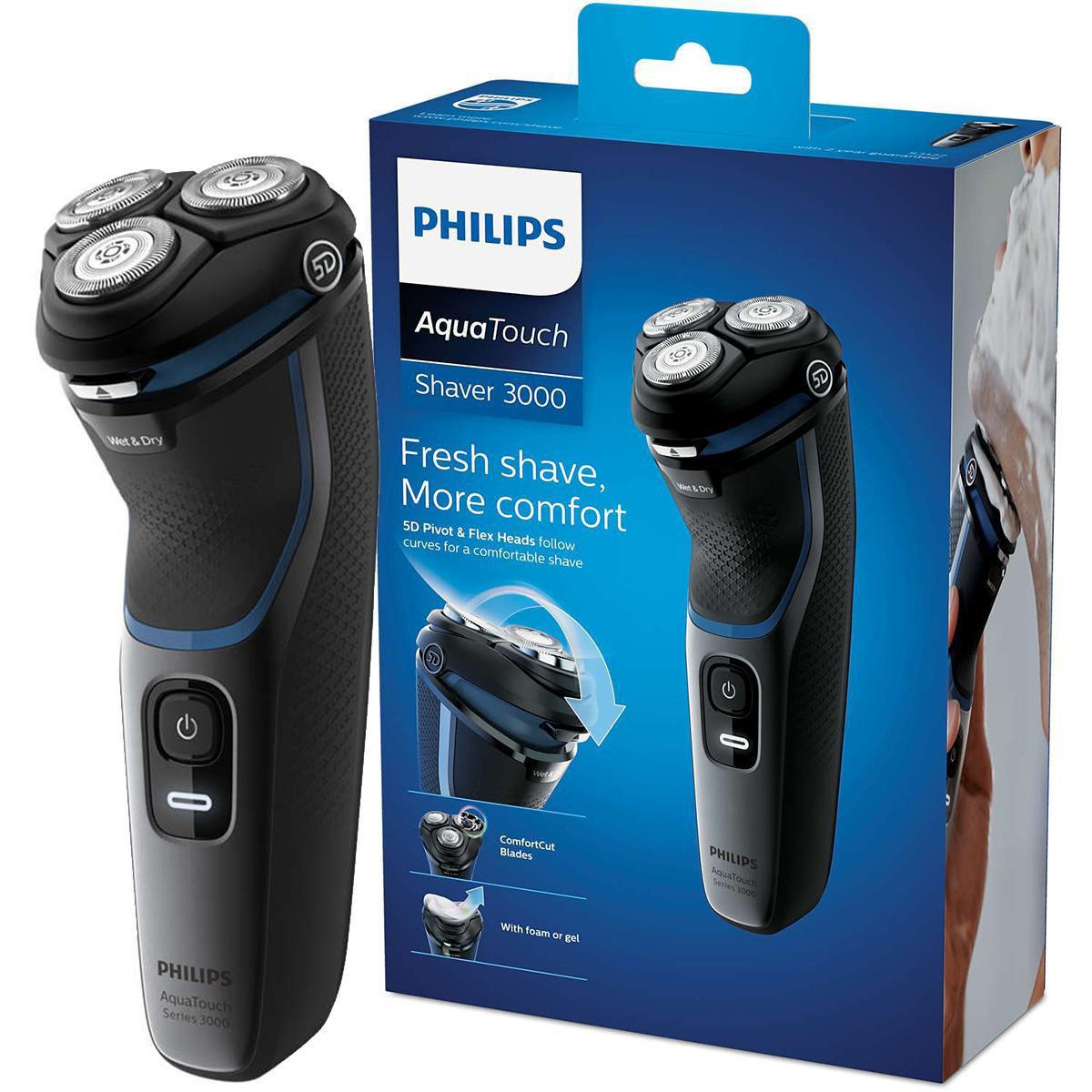 Barbeador Elétrico AquaTouch Philips S3122/51 Shaver 3100, Seco e Molhado Bivolt