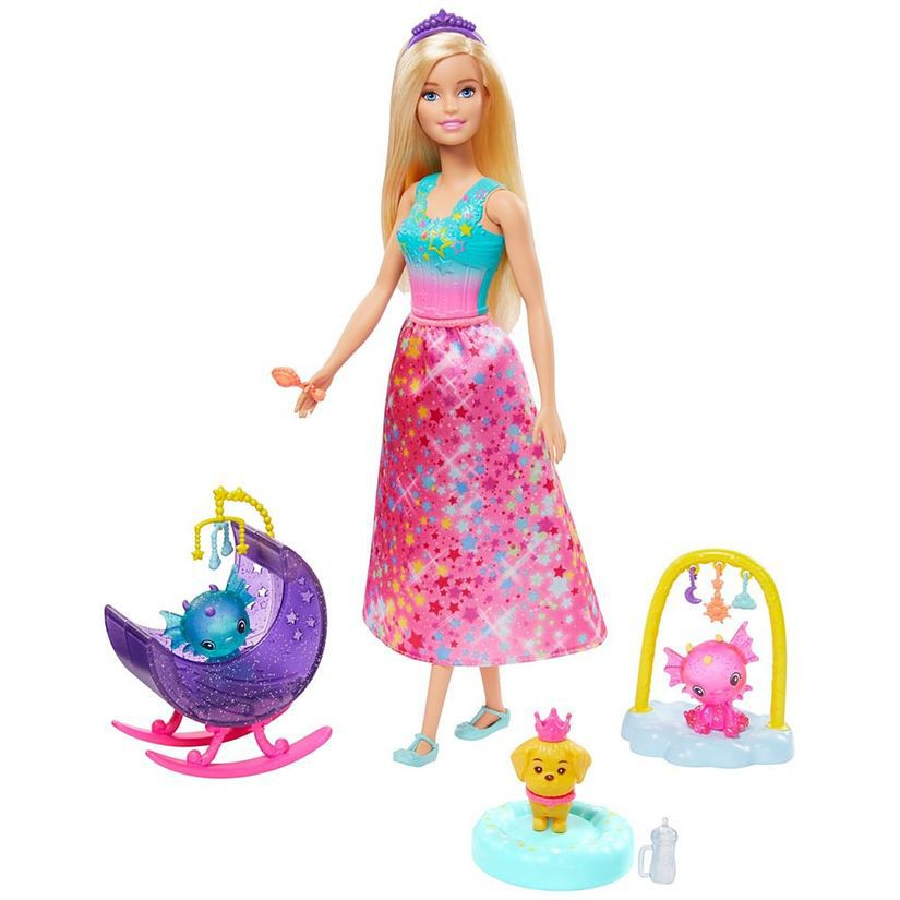 Barbie Dreamtopia Dia de Pets Babá de Dragões Bebês GJK50 Mattel