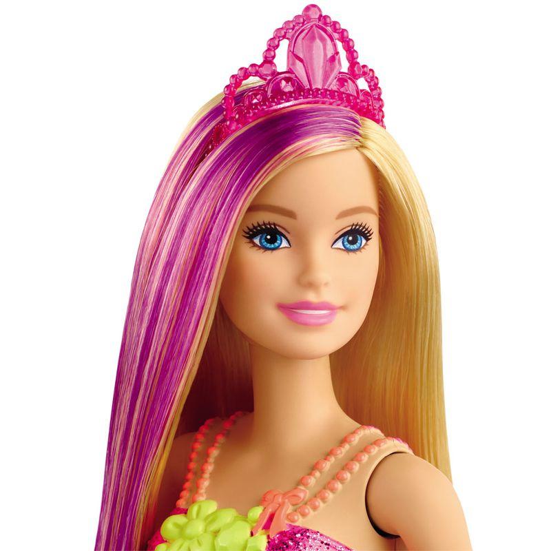 Boneca Barbie Dreamtopia Princesa Loira Vestido Flores GJK12 Mattel