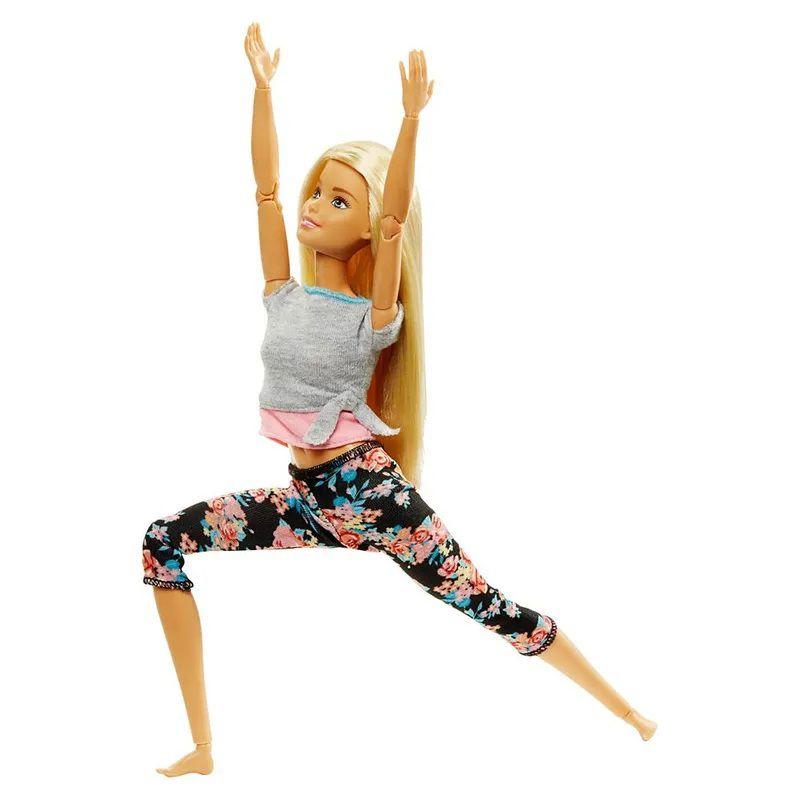 Boneca Barbie Feita para Mexer Aula de Yoga - Blusa Cinza e Rosa FTG80 Mattel