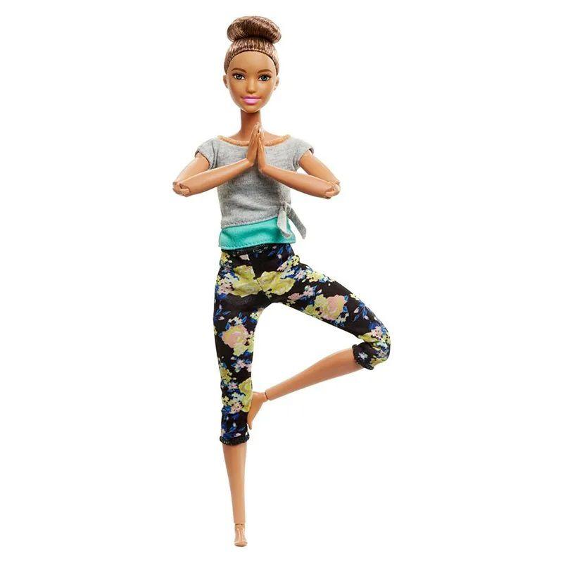 Boneca Barbie Feita para Mexer Aula de Yoga - Blusa Cinza e Verde FTG80 Mattel