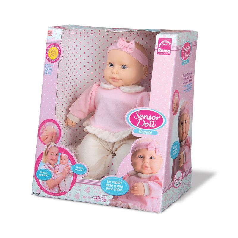 Boneca Bebê Sensor Doll Repete Fala Roma
