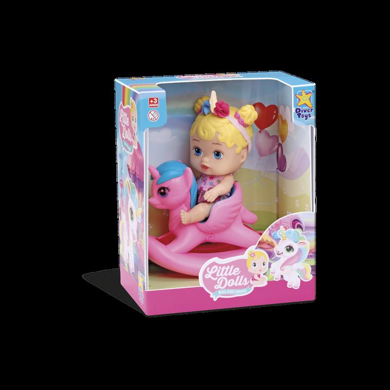 Boneca Little Dolls Balancinho Unicórnio 8043 Divertoys