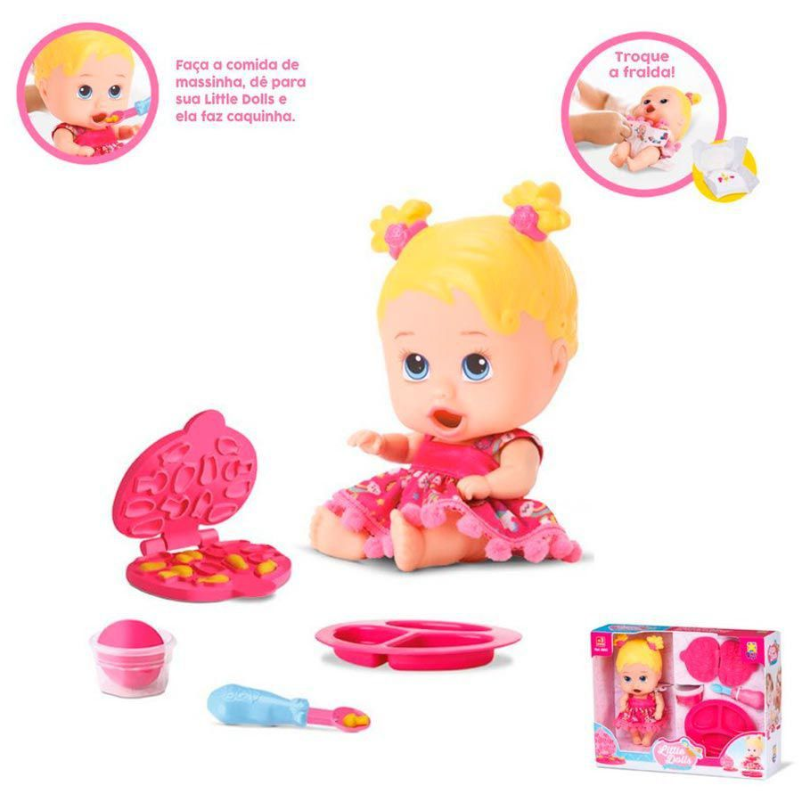 Boneca Little Dolls Come Come e Faz Caquinha Ref. 8025 Diver Toys