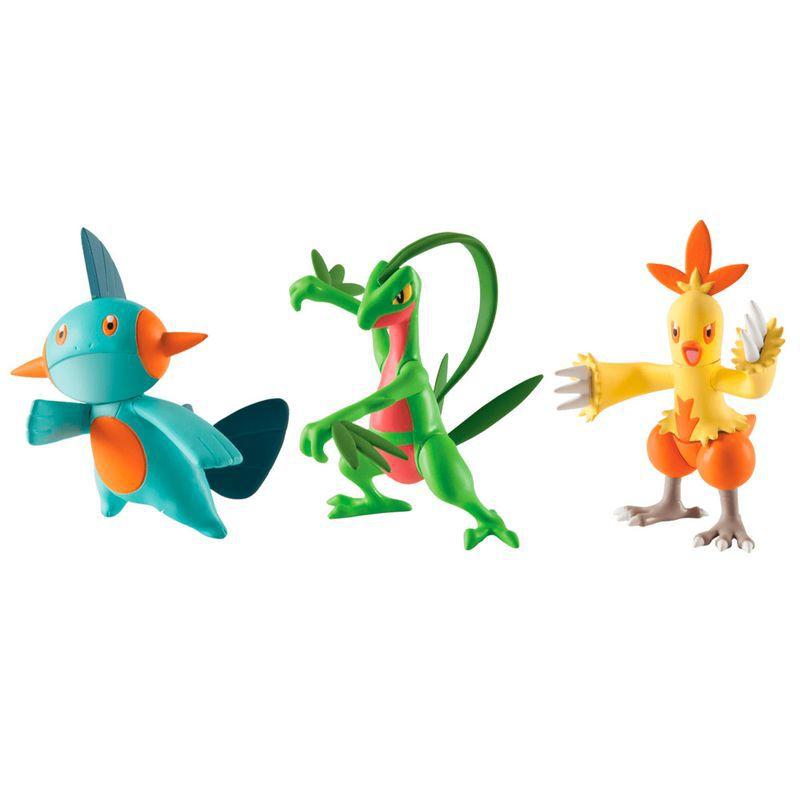 Conjunto de 3 Figuras Pokémon (Grovyle, Combusken e Marshtomp) 1966 Sunny