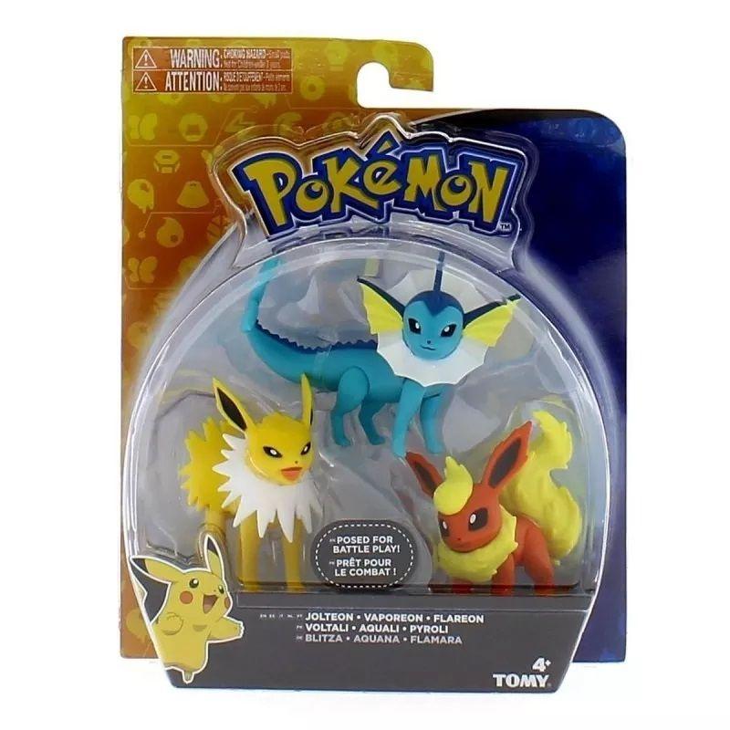 Conjunto de 3 Figuras Pokémon (Jolteon, Vaporeon e Flareon) 1966 Sunny