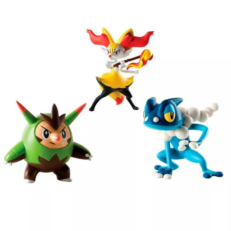 Conjunto de 3 Figuras Pokémon (Quilladin, Braixen e Frogadier) 1966 Sunny