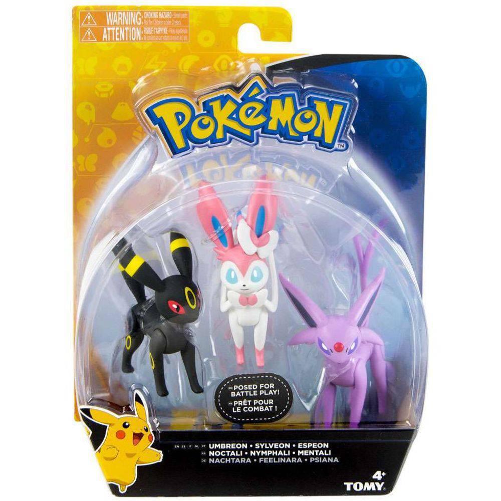 Conjunto de 3 Figuras Pokémon (Umbreon, Sylveon e Espeon) 1966 Sunny