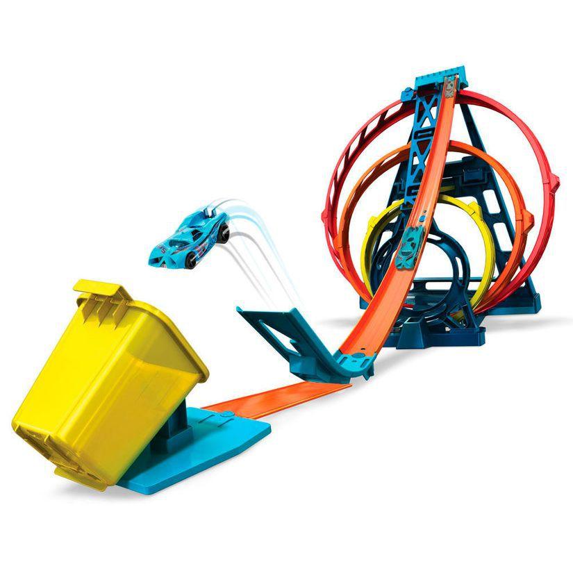 Conjunto Hot Wheels Track Builder Triple Loop Kit GLC96 Mattel