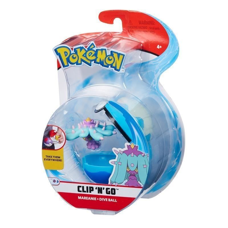 Figura Pokémon e Pokebola Com Clip Mareanie e Buceo Ball 4852 DTC