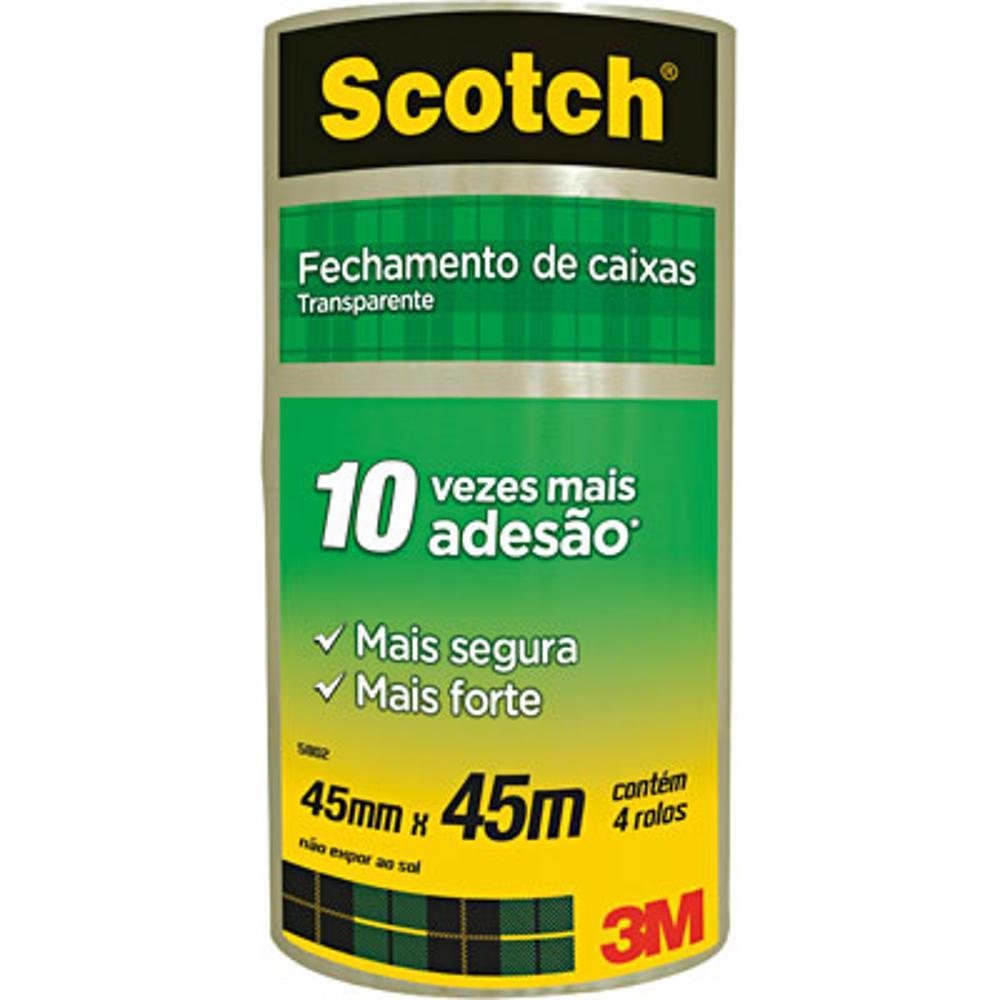 Fita Transparente de Empacotamento 45x45 Pacote c/ 4 Rolos 3M