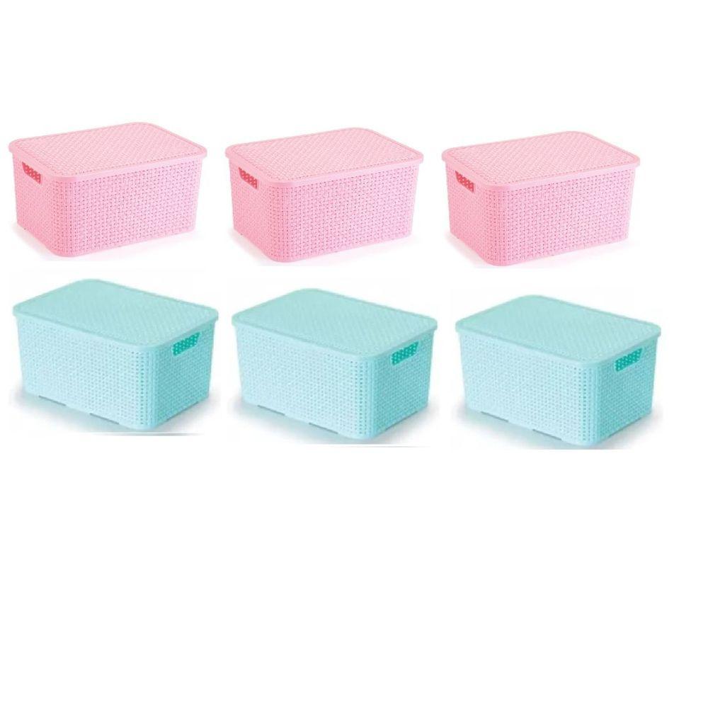 Kit com 6 Caixas Organizadoras Rattan Baby 15 Litros Azul e Rosa
