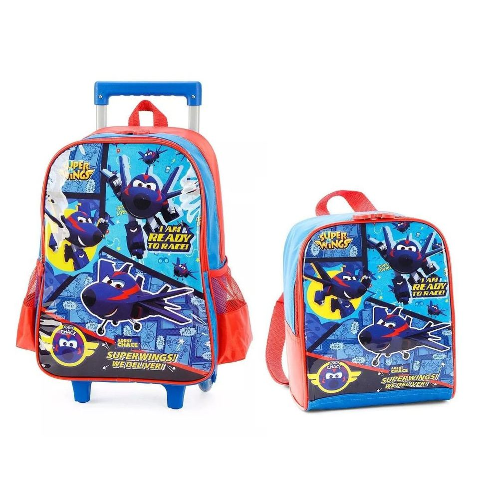 Kit Mochila Super Wings com Rodas e Lancheira IC33902SW0200UN Azul Luxcel