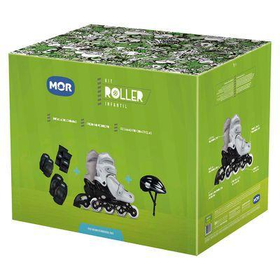 Kit Roller Cinza Tamanho P 31-34 (Roller, Joelheira e Capacete) Ref.  40600102 Mor