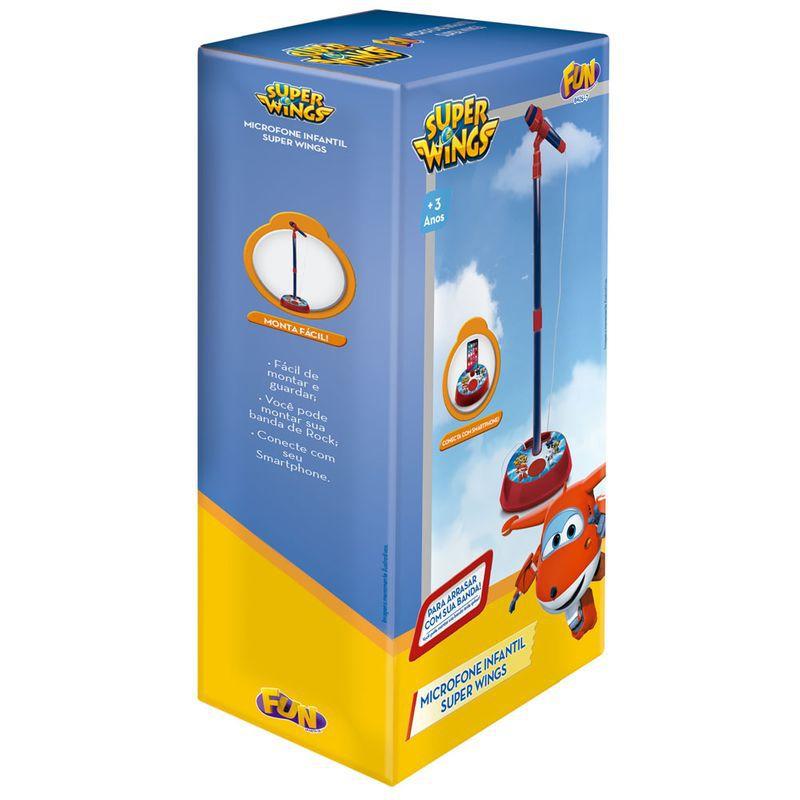 Microfone Infantil com Pedestal e Amplificador Super Wings 8426-7 Fun