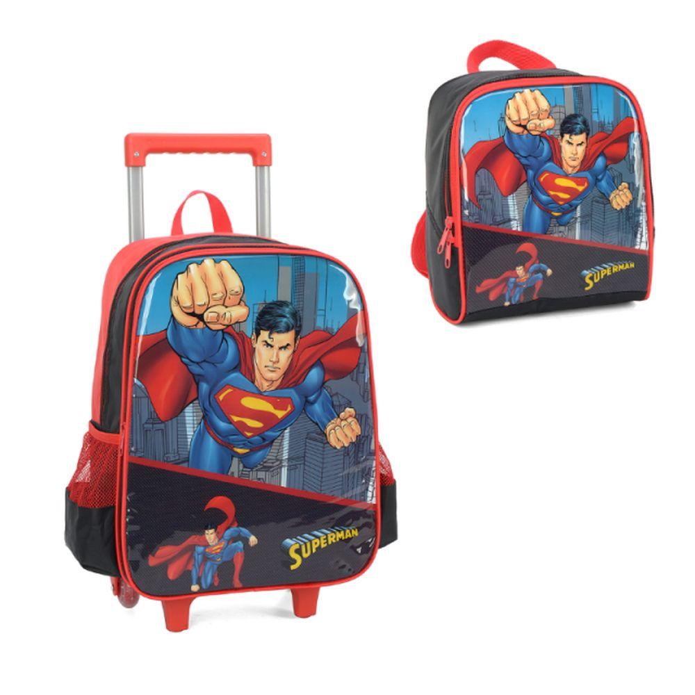 Mochila com Rodinhas Superman e Lancheira Preta IC34292SM06 Luxcel