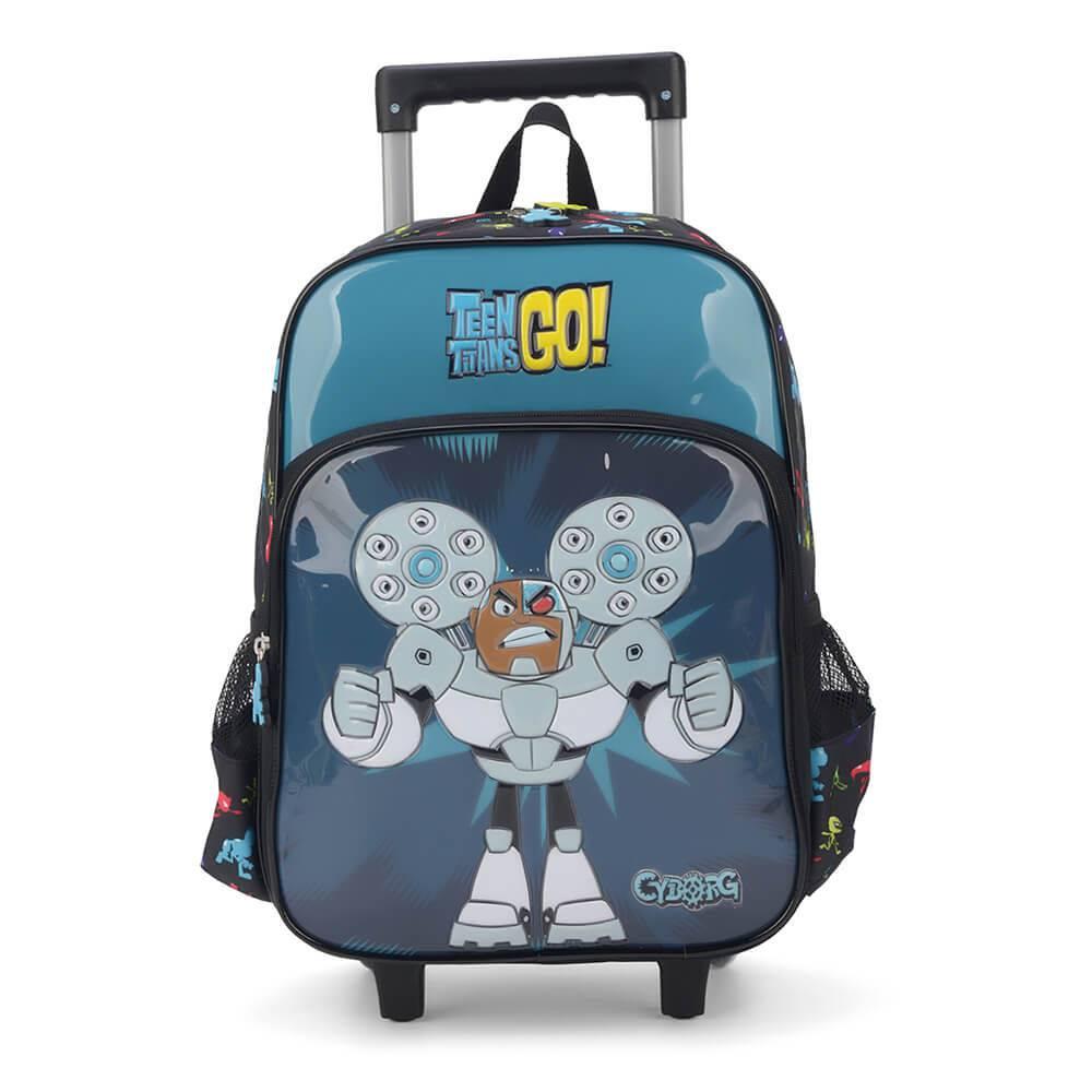 Mochila Rodinhas Teen Titans Go Cyborg Jovens Titãs IC32962TG-PT Luxcel Preta