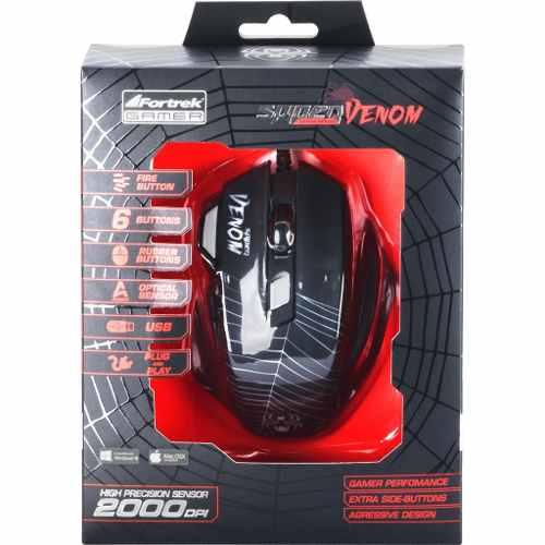 Mouse Gamer Spider Venom Om704 Usb Fortrek 7 Botões 2000 Dpi