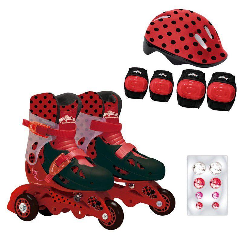 Patins Ajustáveis com Kit de Segurança 3 Rodas Tamanho 29 ao 32 Miraculous Ladybug 81081 Fun Divirta-se