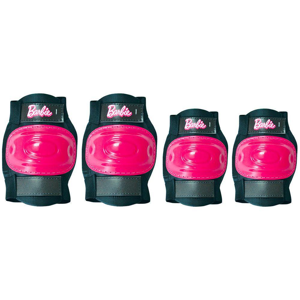 Patins Ajustáveis com Kit de Segurança 4 Rodas Tamanho 33 a 36 Barbie 80076 Fun Divirta-se