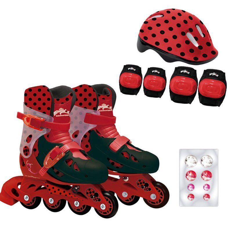 Patins Ajustáveis com Kit de Segurança 4 Rodas Tamanho 33 ao 36 Miraculous Ladybug 81082 Fun Divirta-se